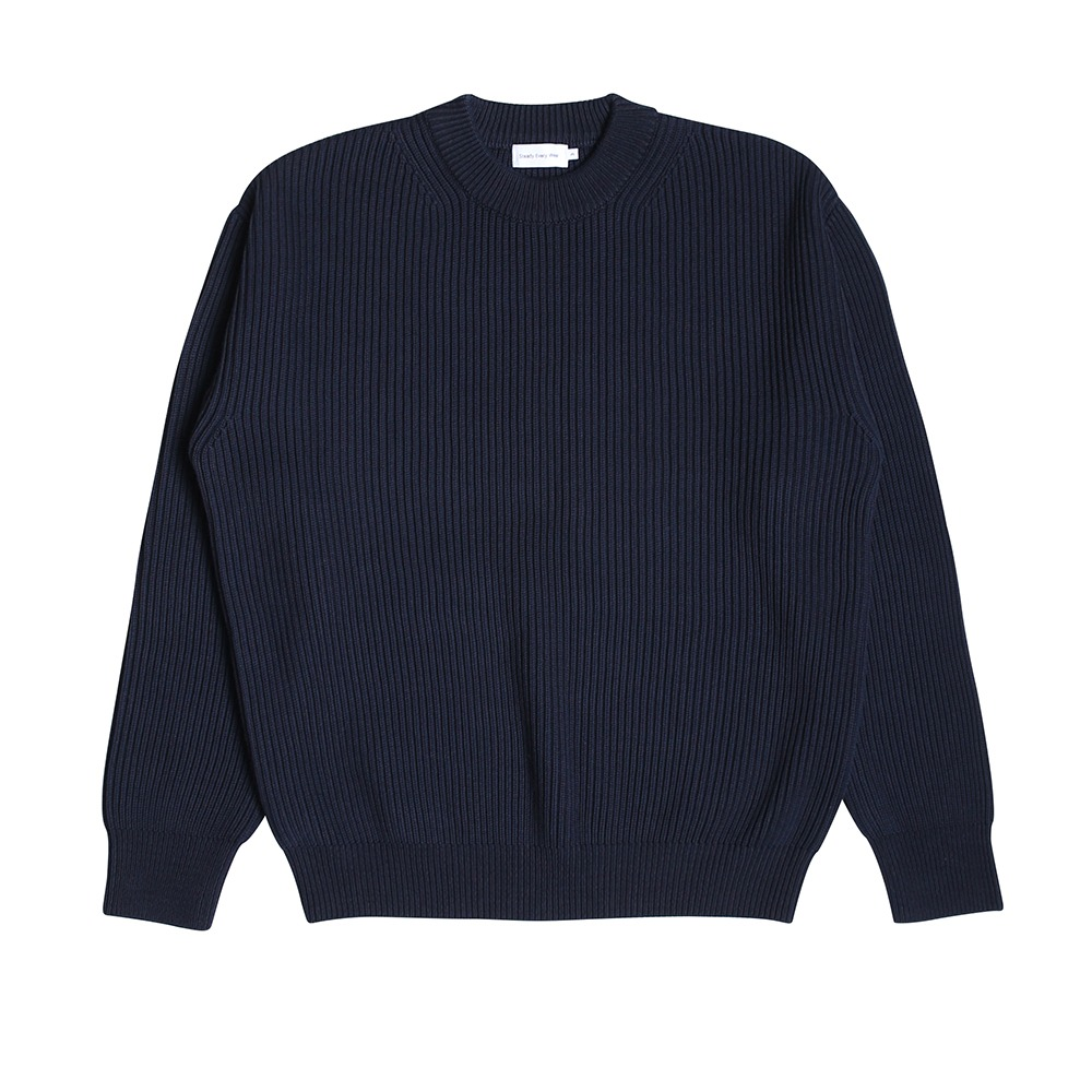 [Steady Every Wear] Crew Neck Cotton Rib Dark Navy