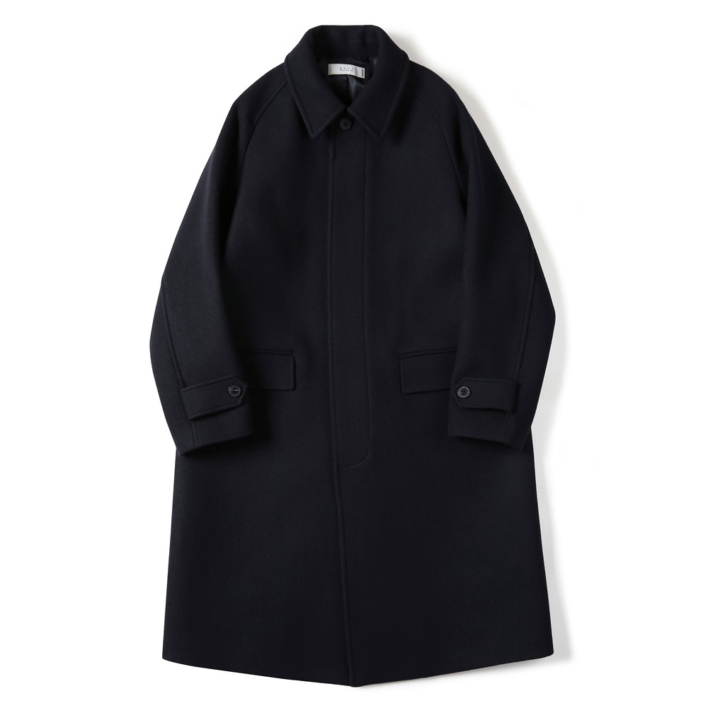[Shirter]  Melton Wool Balmacaan Coat Dark Navy