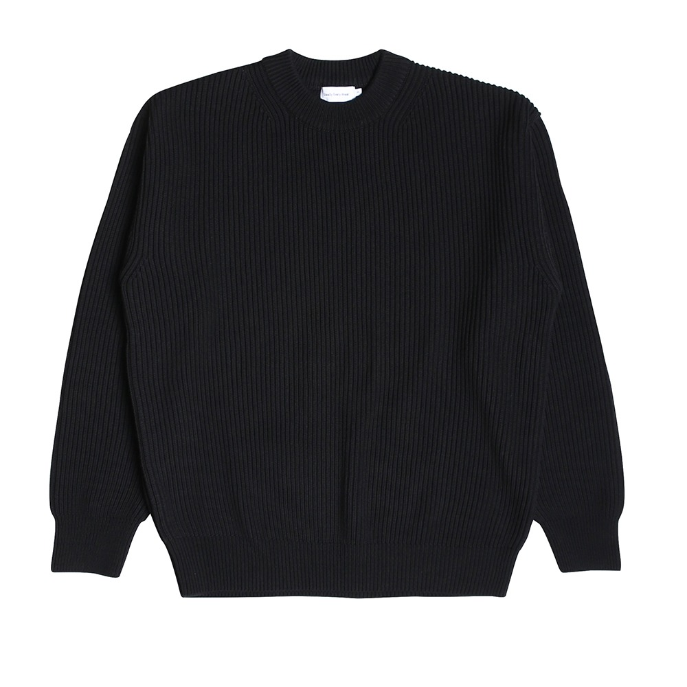 [Steady Every Wear] Crew Neck Cotton Rib Knit Black
