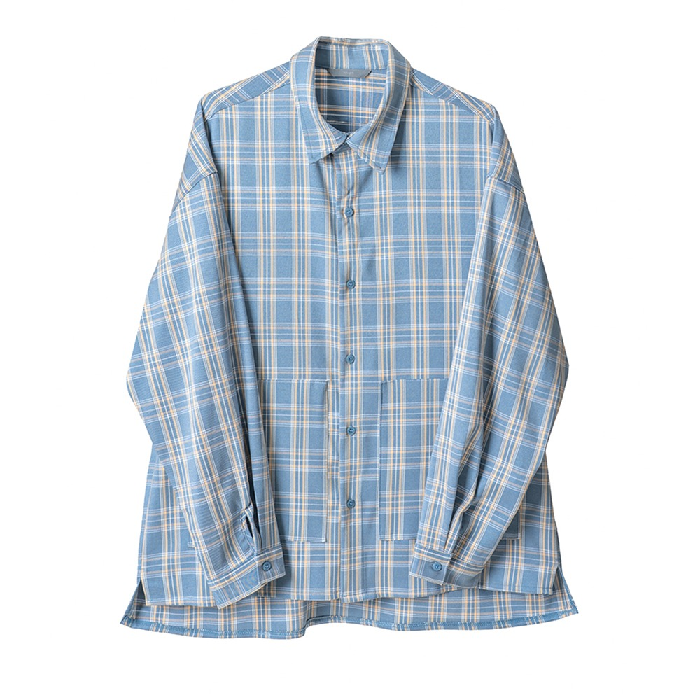 [Nought]  Pocket Check Shirts Light Blue