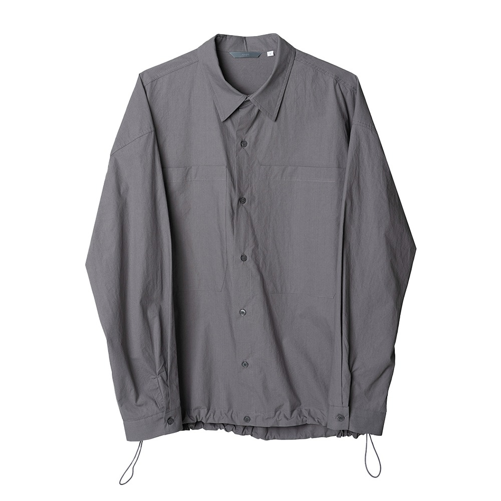 [Nought] Big Pocket String Shirts Charcoal