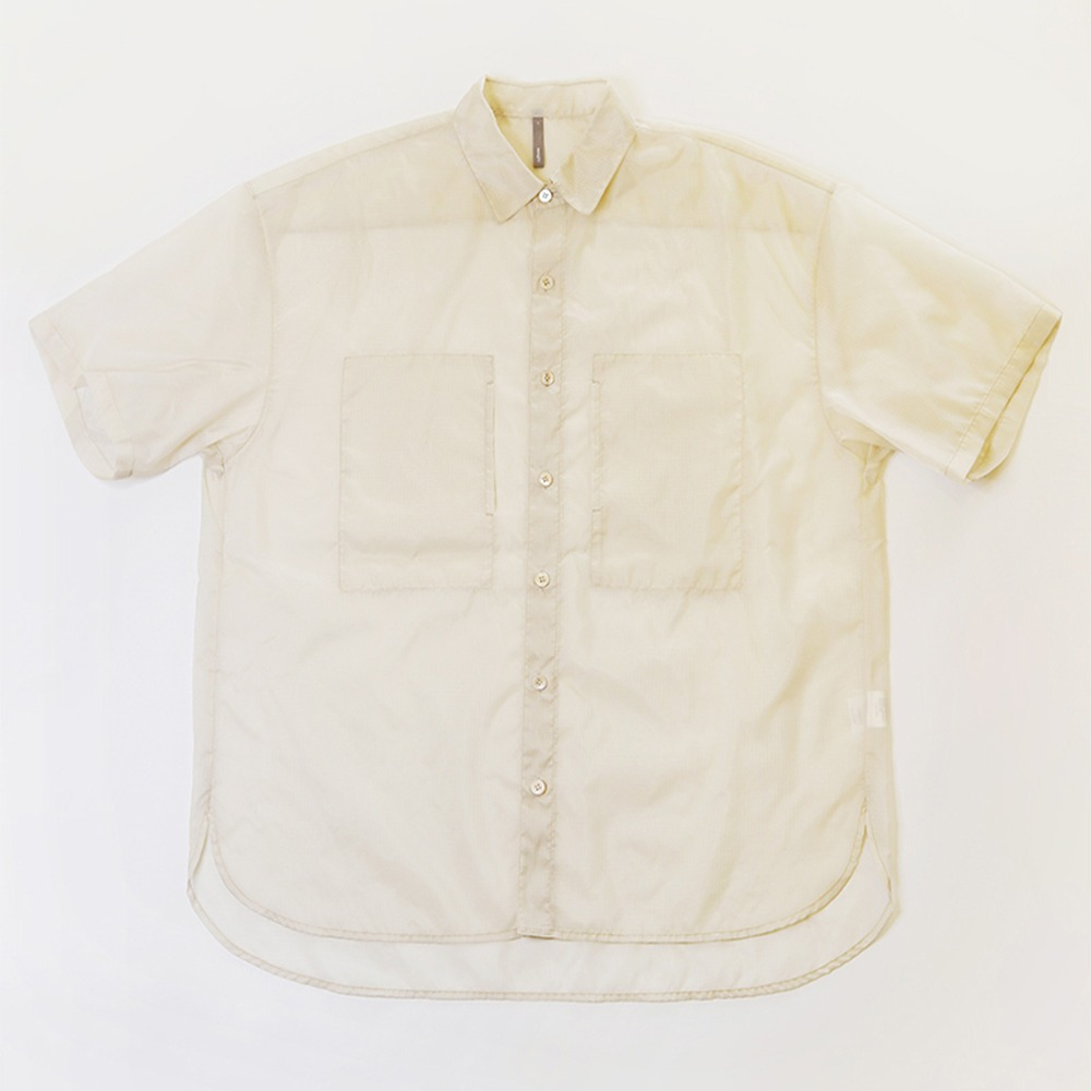 [Nought]  See Through Ripstop Half Shirt Ivory