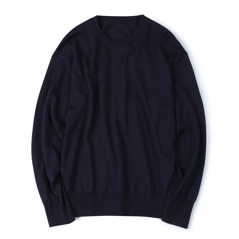 [Shirter] Washable Pure Wool Crew Neck Knit Dark Navy