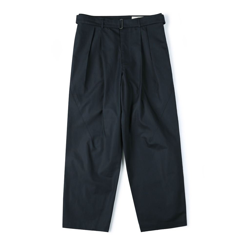 [Shirter]  Belted Pleats Jar Pants Navy