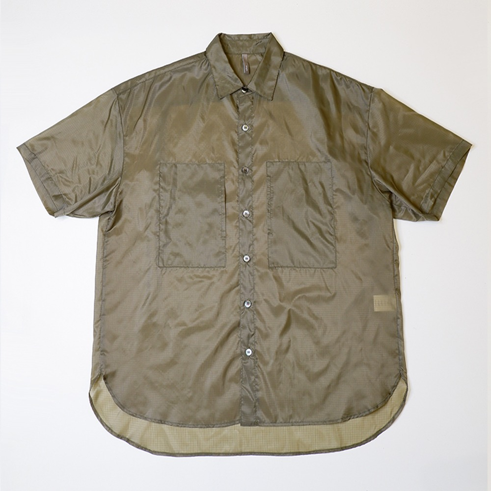 [Nought]  See Through Ripstop Half Shirt Khaki