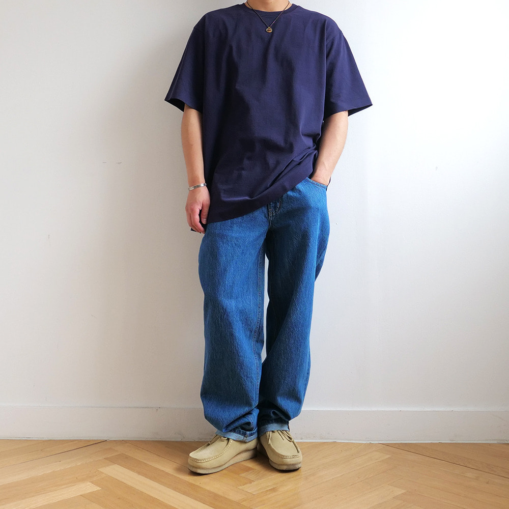 [Shirter]  02 Seamless Hem T-Shirt Navy   30% Season Off