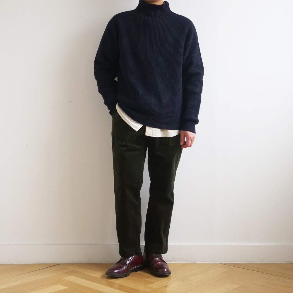[Shirter]  Super Fine Lambs Wool High Neck Knit Dark Navy