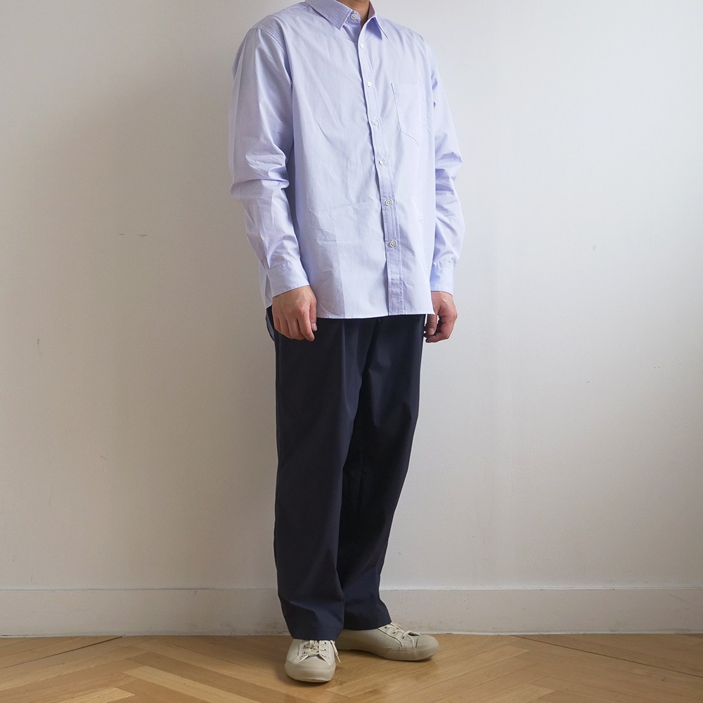 [Shirter]  High Density Blue Stripe Standard Shirt White (Original Fabric)