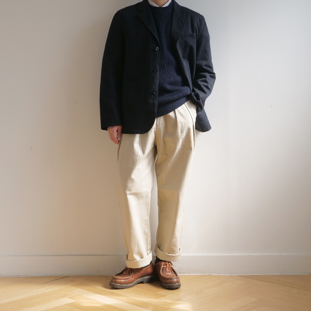 [Pottery]  Washed Sports Jacket KAYANU Cotton Vintage Chino Cloth Navy