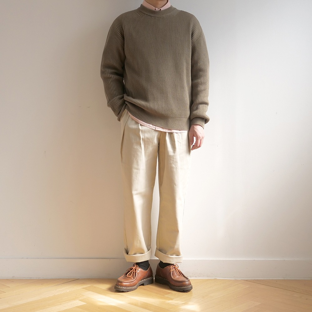 [Steady Every Wear] Crew Neck Cotton Rib Olive Khaki