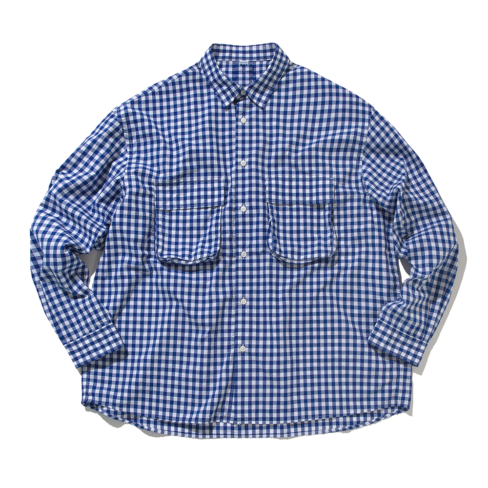[Softur]  Gingham Wide Shirt White Blue