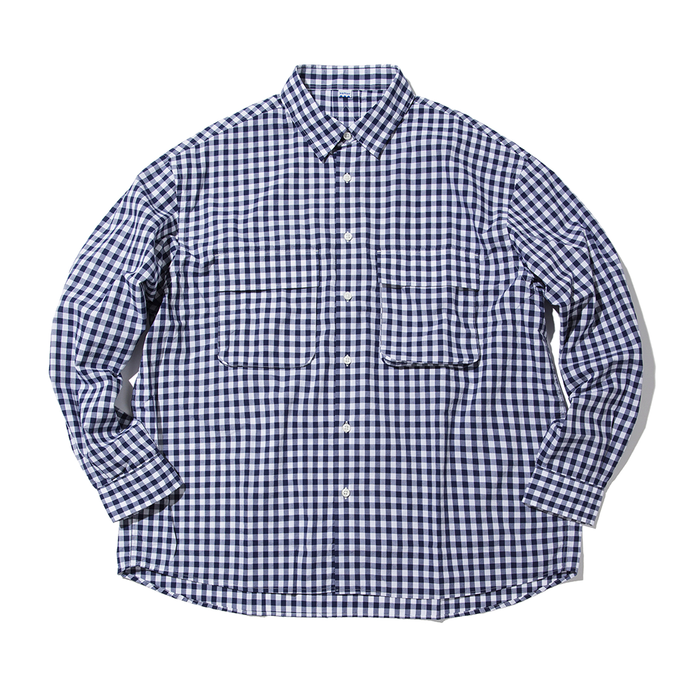 [Softur]  Gingham Wide Shirt White Navy