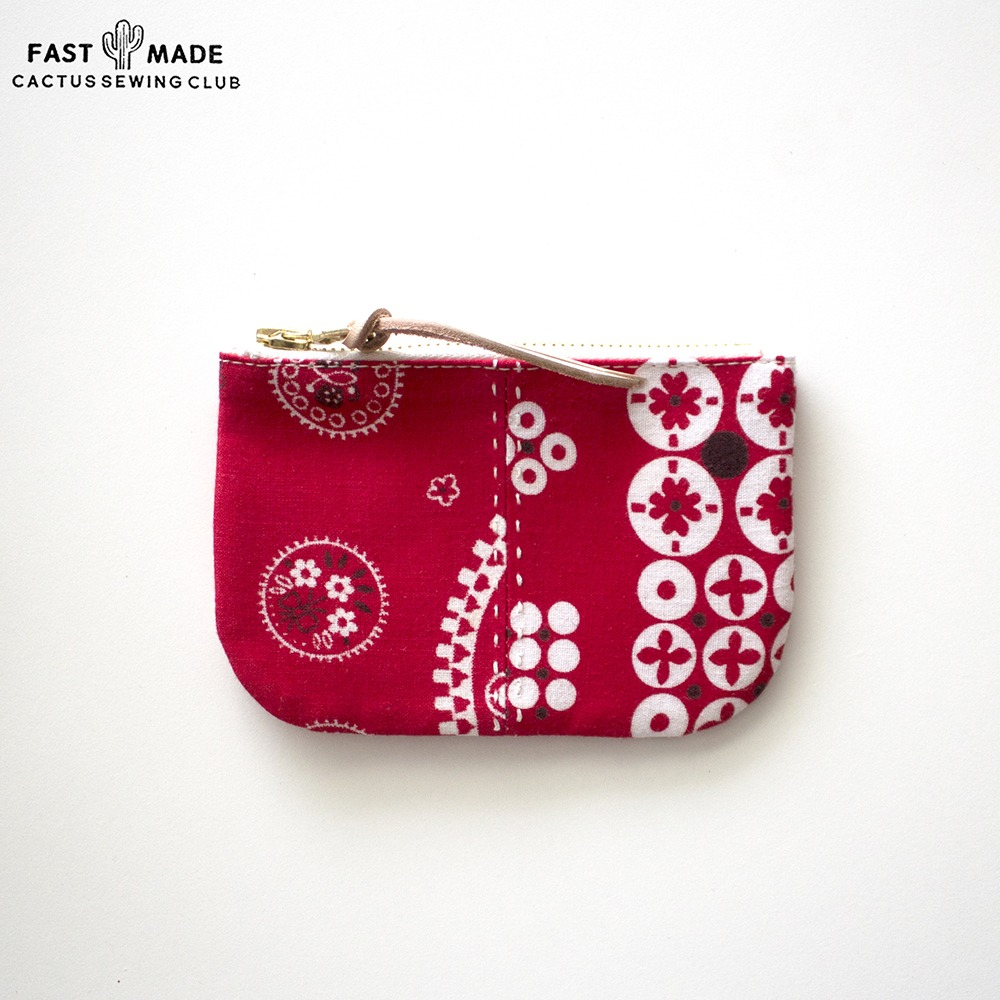 [Cactus Sewing Club]  Vintage Bandana Pocket Pouch Red