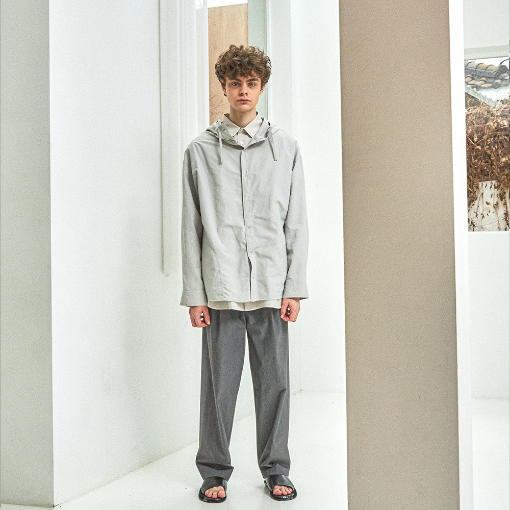 [Ourselves]  Nylon Dyed Comfort Shacket Light Grey
