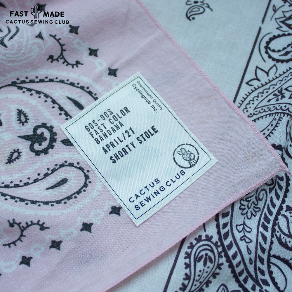 [Cactus Sewing Club]  80's-90's Vintage Fast Color Bandana Pink White Green